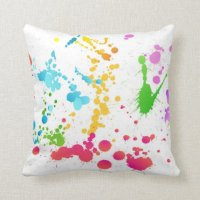 Multi-Colored Paint Splattered Throw Pillow | Zazzle