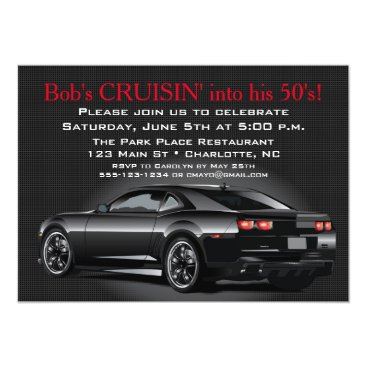 Muscle Car Mens Adult Birthday Party Invitation