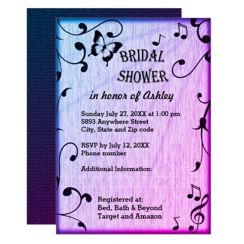 Music, Butterfly, Leaves Blue Purple Bridal Shower Invitation