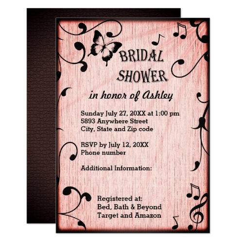 Music, Butterfly, Leaves Pink Wood Bridal Shower Invitation