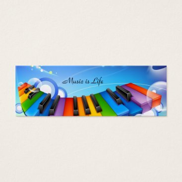 Music is Life Keyboard Bookmark Mini Business Card