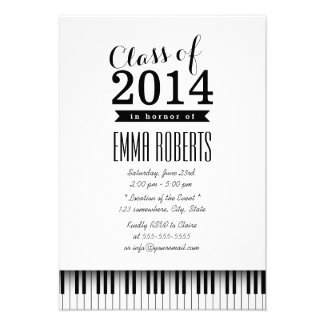 Music Major Simple Piano Keys Graduation Party Personalized Announcements