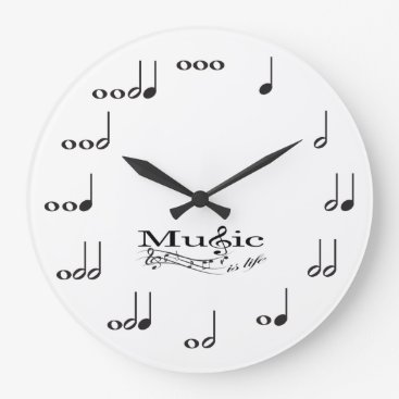 Music Note with Music is Life saying Large Clock
