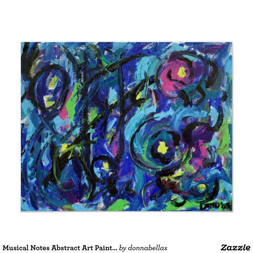 Musical Notes Abstract Art Painting Poster