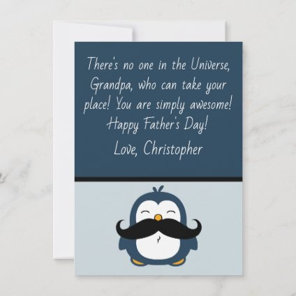 Mustache Penguin Grand Father's Day | Blue