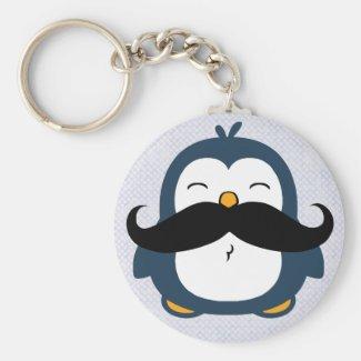 Mustache Penguin Key Chain