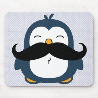 Mustache Penguin Mouse Pad