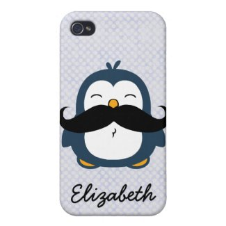 Mustache Penguin Personalize Name Case For iPhone 4