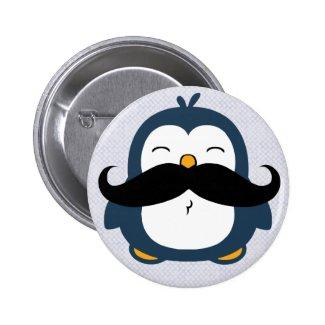 Mustache Penguin Pinback Buttons