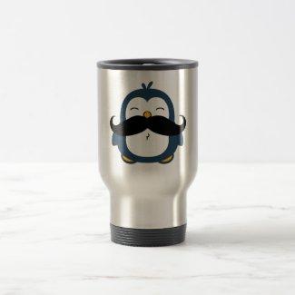 Mustache Penguin Travel Mug