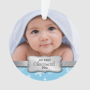 My 1st Christmas - baby blue | Add your photo Ornament