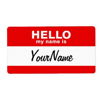 My Name Is Blank Custom Nametag Red Shipping Label