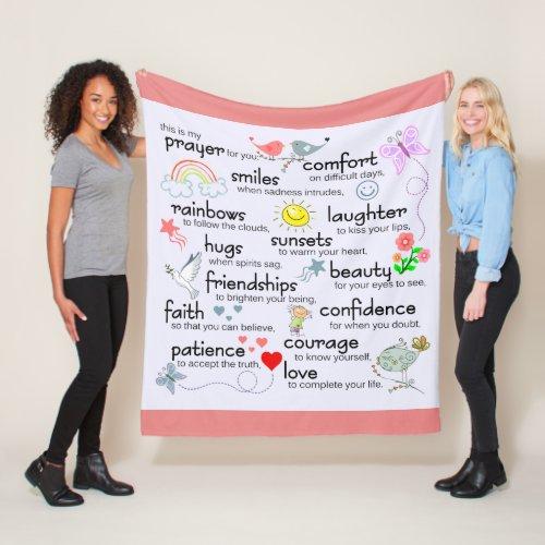 My Prayer For You | Pink Rose Fleece Blanket