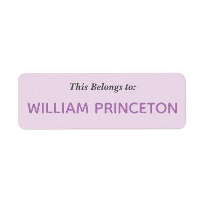 purple name tag avery