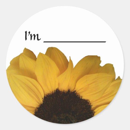 Name Tag Sunflower Sticker  Zazzlecom