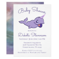 Narwhal Baby Shower | Purple Colorful Watercolor Card