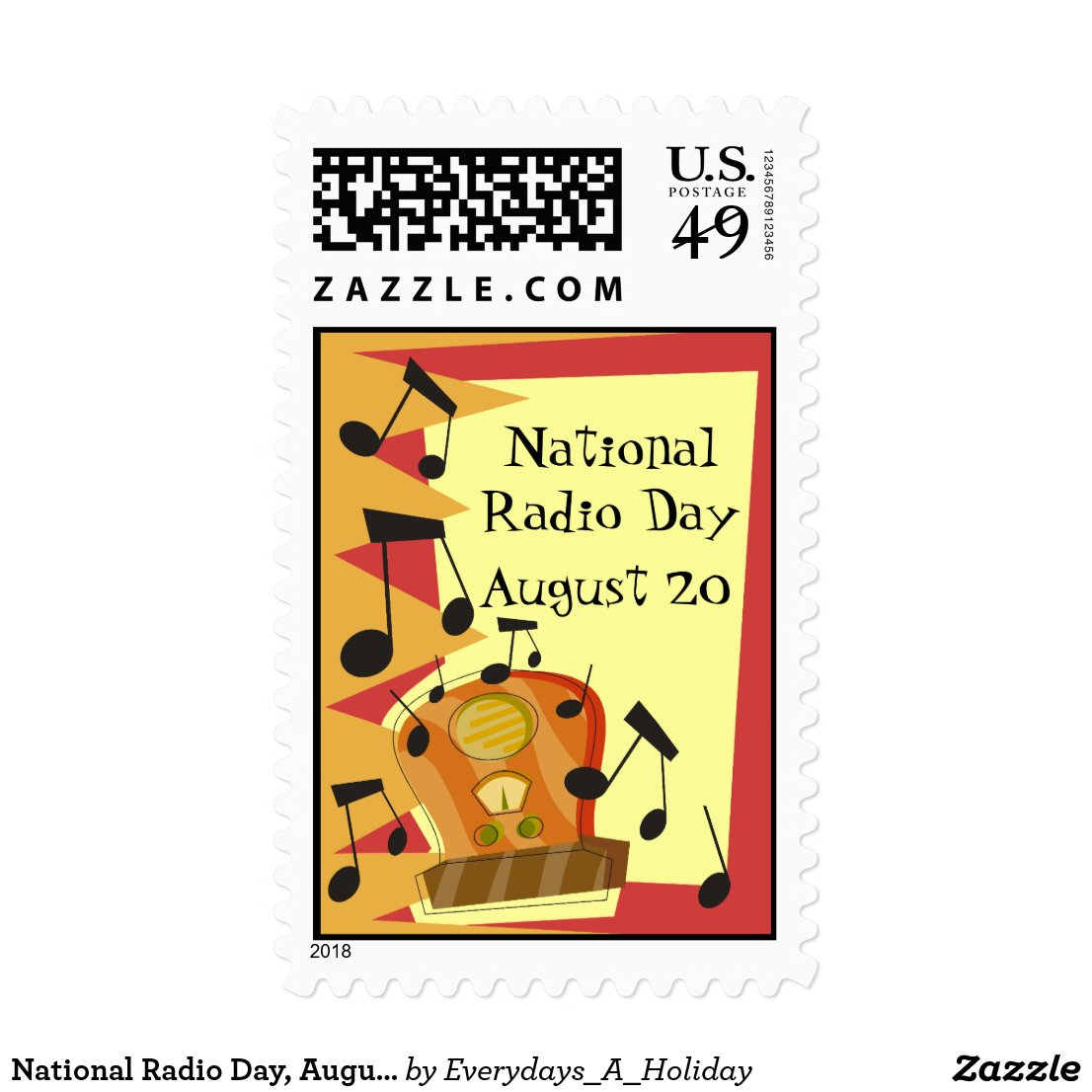 National Radio Day, August 20 Postage