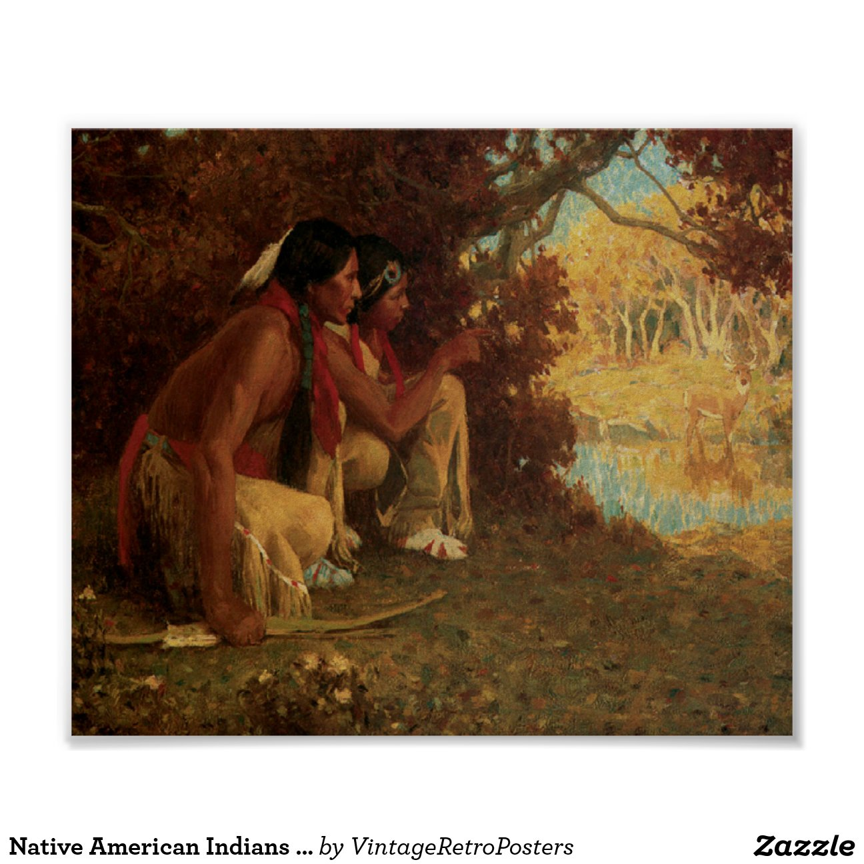 Native American Indians Deer Hunting Art Print Pos-re05c1eaaf718461ab9b526919fb6d2ab 41t 8byvr