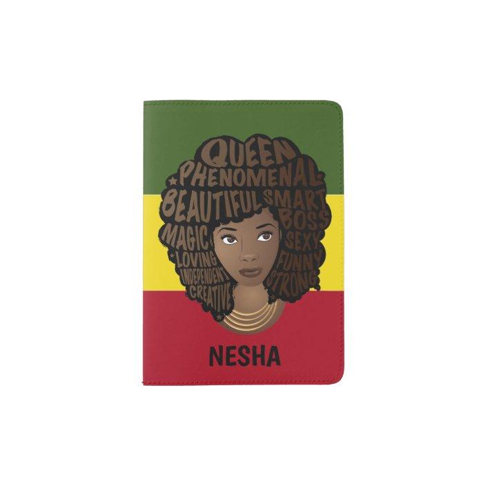 Natural Hair Encouraging Red Yellow Green Stripes Passport Holder