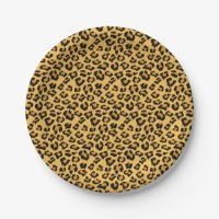 Natural Leopard Print in Brown, Gold and Black Paper Plate ...