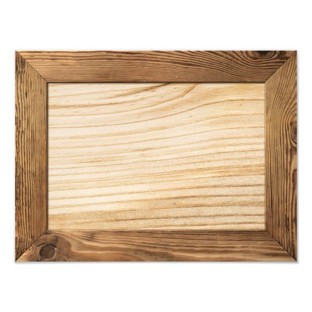 Natural Wood Frame With Wooden Plank Inside Photo Print