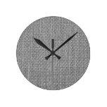 Natural Woven Silver Grey Burlap Sack Round Clock