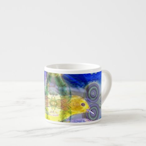 Nature Reflections I - Gold & Blue Birds Espresso Cup