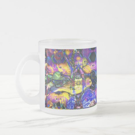 Nature Reflections II - Violet & Gold Birds Frosted Glass Coffee Mug