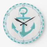 Nautical Anchor Beach Rustic Wall Clock