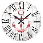 Nautical Anchor Red White Wood Rustic Coastal Large Clock