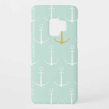 Nautical anchors preppy girly blue anchor pattern Case-Mate samsung galaxy s9 case