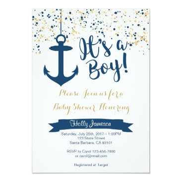 Nautical Baby Shower Invitation- Navy and Gold Card