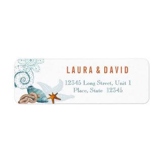 Nautical Beach Wedding   Return Address Labels