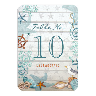 Nautical Beach Wedding   Table Place Number Card
