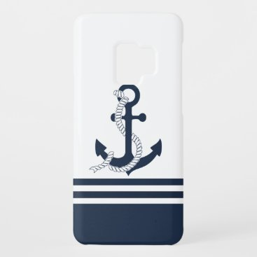 Nautical blue anchors with blue and white stripes Case-Mate samsung galaxy s9 case