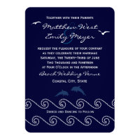 Nautical Blue Ocean Waves Wedding Invitation