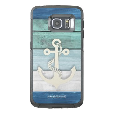 Nautical Blue Turquoise White Wood Anchor OtterBox Samsung Galaxy S6 Edge Case