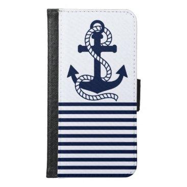 Nautical Blue/White Anchor Galaxy S6 Wallet Case
