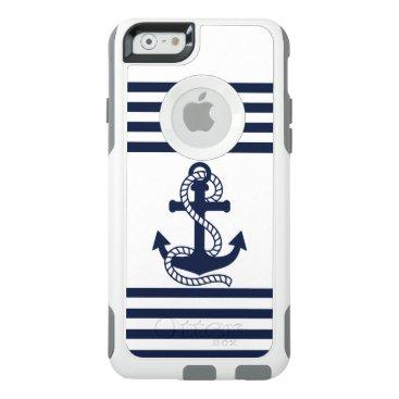 Nautical Blue White Anchor OtterBox iPhone 6 Case