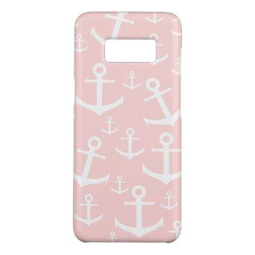 Nautical blush pink & white anchor pattern Case-Mate samsung galaxy s8 case