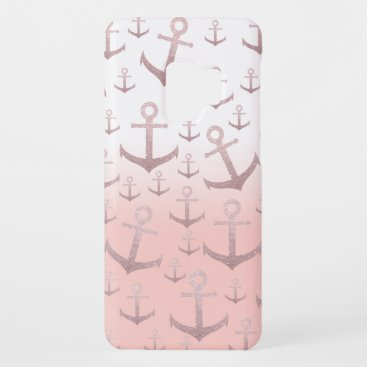 Nautical coral rose gold glitter anchor pattern Case-Mate samsung galaxy s9 case