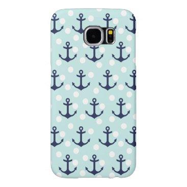 Nautical Mint Polka Dots And Navy Blue Anchors Samsung Galaxy S6 Case