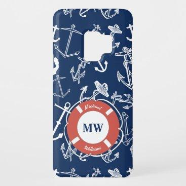 Nautical Monogram Navy Blue Anchor Pattern Case-Mate Samsung Galaxy S9 Case