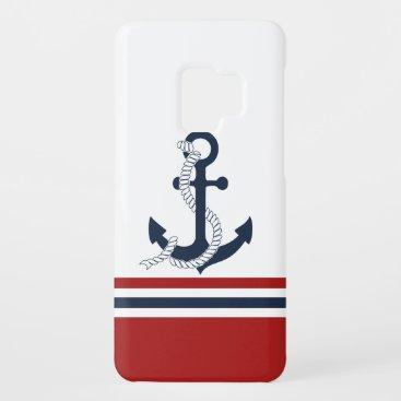 Nautical Navy Blue Anchor Blue White Red Stripes Case-Mate Samsung Galaxy S9 Case