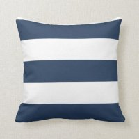 Nautical Navy Blue and White Striped Pillow