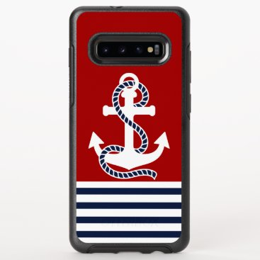 Nautical Navy blue White Stripes and White Anchor OtterBox Symmetry Samsung Galaxy S10  Case
