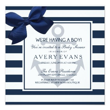 Nautical Navy Ribbon Anchor It's a Boy Baby Shower Invitation