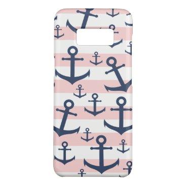 Nautical pink stripe navy blue anchor pattern Case-Mate samsung galaxy s8 case