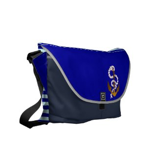 Nautical sailing pattern messenger bags