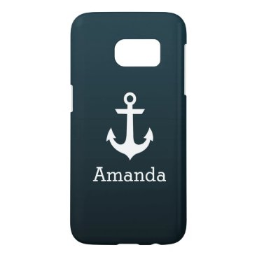 Nautical White Anchor Blue Ombre Personalized Name Samsung Galaxy S7 Case